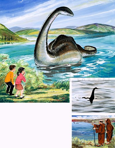 The Loch Ness Monster. Original artwork (from Treasure? dated 4/6/66).