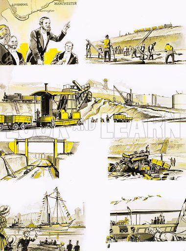 Montage about the building of the Manchester to Liverpool Canal. Original artwork from Treasure (dated 15 May).