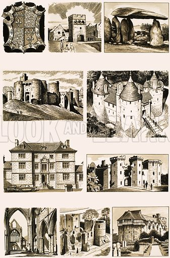 Britain's Heritage: Wales, Herefordshire and Shropshire. (LtoR, TtoB) St David's Cathedral crest, Lamphey Palace, Pentre Ifan burial chamber, Kidwelly Castle, Castle Coch, Great Castle House at Monmouth, Raglan Castle, Tintern Abbey, Goodrich Castle, Stokesay Castle. Original artwork from Look and Learn no. 337 (29 June 1968).