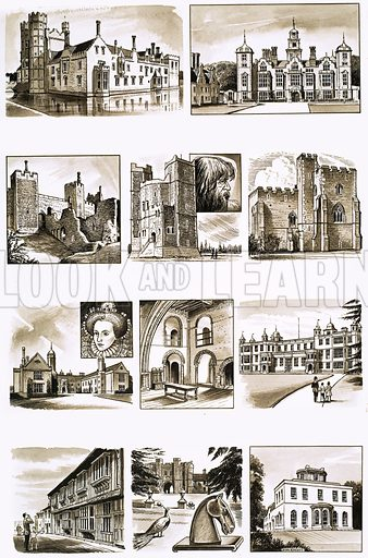 Britain's Heritage: The Eastern Counties. (LtoR, TtoB) Oxburgh Hall, Blickling Hall, Framlingham Castle, Orford Castle, Little Wenham Hall, Melford Hall, Hedingham Castle, Audley End House, Paycocke's House, St Osyth's Priory and Bradwell Lodge. Original artwork from Look and Learn no. 336 (22 June 1968).
