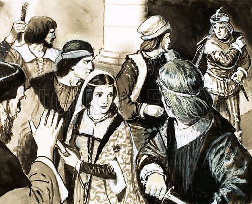 Blessing the Bride. At one time, guards were chosen by the bridegroom to protect the bride from possible kidnapping. These were the best men that could be found for the job, hence the modern Best Man. Original artwork from Look and Learn no. 335 (15 June 1968).