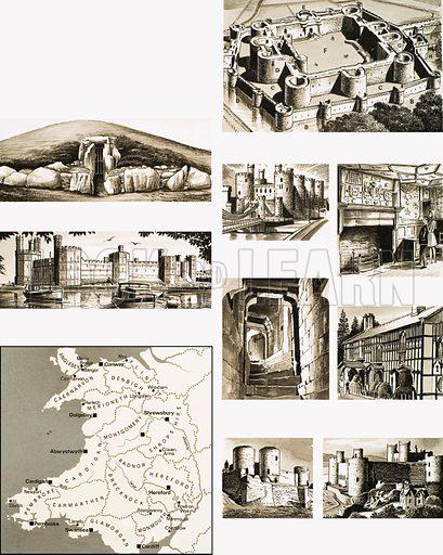 Britain's Heritage: Wales, Herefordshire and Shropshire. (LtoR, TtoB) Beaumaris Castle, Bryn Celli Ddu burial chamber, Caernarvon Castle, Conway Castle, Plas Mawr, Chirk Castle, Plas Newydd, Rhuddlan Castle, Harlech Castle plus map. Original artwork from Look and Learn no. 337 (29 June 1968).