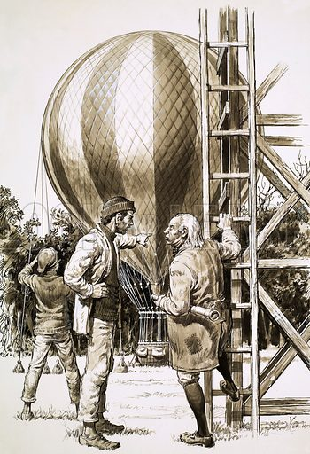 The Red Beret, illustration from the serial by Henry Garnett. Jean le Malouin is persuaded to escape by balloon. Original artwork from Look and Learn no. 216 (5 March 1966).
