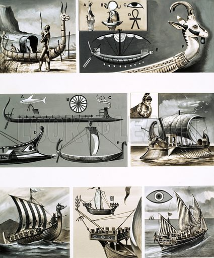 From Then Till Now: For Those in Peril… ship's symbols. (1) Primative African reed canoe; (2) Ornamental head of an Egyptian boat; (3) various Greek hulls; (4) Roman warship; (5) Viking longboat; (6) Medieval ship with forecastle; (7) Mediterranean galley. Original artwork from Look and Learn no. 191 (11 September 1965).