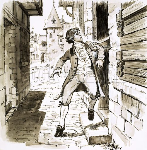 """The Red Beret, illustration from the serial by Henry Garnett. """"A great fist took Pierre and half lifted, half pulled him inside."""" Original artwork from Look and Learn no. 203 (4 December 1965)."""