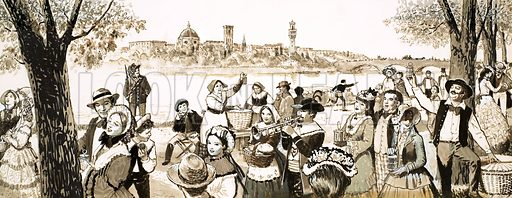 Festivals and Customs: The Day of the Cricket. Celebrations take place along the banks of the River Arno, Florence, with cricket vendors shouting out the merits of the insect. Original artwork from Look and Learn no. 315 (27 January 1968).