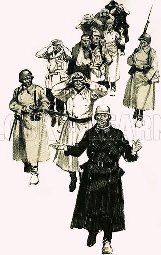 The Siege of Leningrad. The frostbitten survivors amongst the German troops who laid siege to Leningrad eventually surrendered to the Russians. Original artwork from Look and Learn no. 134 (8 August 1964).