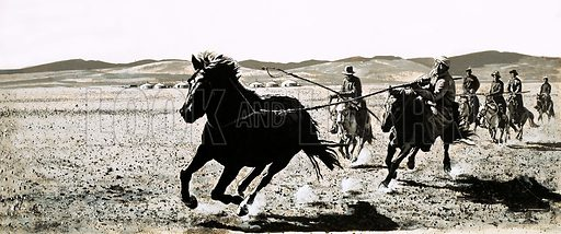 The Desert That Lost Its Sand. Mongolian riders capture a wild horse of the Gobi Desert. Original artwork from Look and Learn Book 1981.