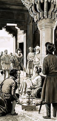 The Great Reign of the Lucky Emperor. Akbar, Emperor of Hindustan, would sit in front of his thone and spend hours talking to travellers. Original artwork from Look and Learn Book 1983.