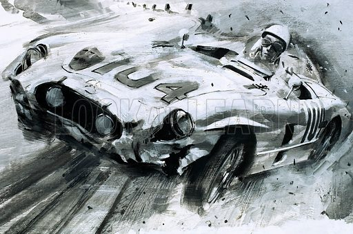 The Elusive Trophy. Driving a Mercedes 300 SLR, Stirling Moss scored a great win in the 1955 Targa Florio, a rugged course that run through Corsica. Original artwork from Look and Learn Book 1983.