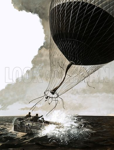 Flight of the Small World. Rosemary Mudie and her husband attempt a transatlantic crossing by balloon but are forced into the ocean. Original artwork from Look and Learn no. 190 (4 September 1965).