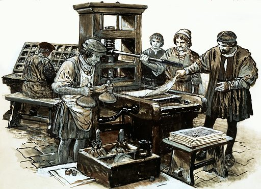 Around Britain: The Home from Home for Caesar's Soldiers. The third printing press in England was set up in St Albans in 1480. Original artwork from Look and Learn no. 661 (14 September 1974).