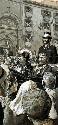 They Built a Nation: The Man Who United Italy. King Emmanuel was publicaly proclaimed king of Italy by Garibaldi after the pair had ridden in a carriage to the royal palace. Original artwork from Look and Learn no. 695 (10 May 1975).