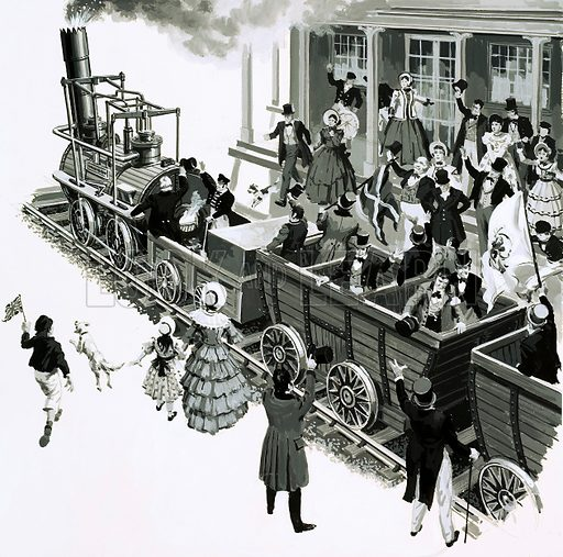 The Story of Steam: Trains on Trial. George Stephenson's Locomotion arrived in Darlington amidst great cheering from the crowd. Original artwork from Look and Learn no. 648 (15 June 1974).