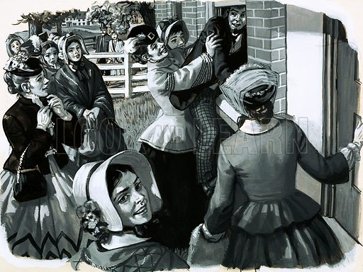 The Petticoat Revolution: Victory for Women. In 1848 Elizabeth Cady Stanton organised a suffragette meeting in New York. When they discovered the door to their meeting hall locked they pushed a man through the window to open the door. Original artwork from Look and Learn no. 662 (21 September 1974).