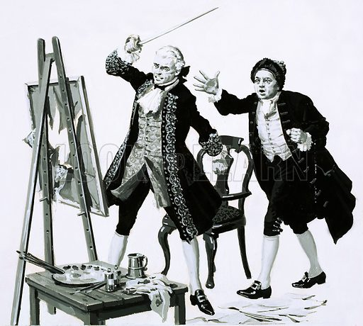 Popular Painters: The Scourge of London. Once a young man slashed an unflattering portrait of his father drawn by William Hogarth with a sword. Original artwork from Look and Learn no. 775 (20 November 1976).
