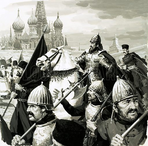 The Rise and Fall of the Romanovs: The Monster of Moscow. Ivan, Czar of Russia, proved his worth in battle against the Tartars. Original artwork from Look and Learn no. 594 (2 June 1973).