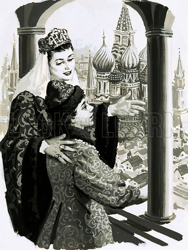 "The Rise and Fall of the Romanovs: The Monster of Moscow. ""Never forget that you are the true Czar of Russia,"" said Empress Helen to the child Ivan. Original artwork from Look and Learn no. 594 (2 June 1973)."