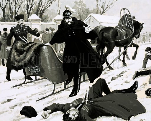 Unidentified Russian soldier lies dead in the snow as a horse drawn sleigh pulls up beside him. Original artwork (dated 28 June).