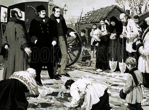 Unidentified scene of crowd kneeling before a well-dressed man. Original artwork (dated 28 June).