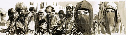 Other People's Countries: Morocco. Christian captives led in chains through the streets of Morocco by pirate captors. Original artwork from Look and Learn no. 105 (18 January 1964).