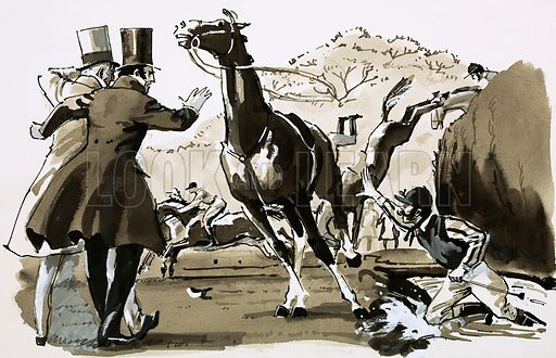 The World's Toughest Sports: Daredevils On Horseback. Captain Becher, thrown at a fence during the Grand National, caught his horse and was soon in the lead again. Original artwork from Look and Learn no. 614 (20 October 1973).