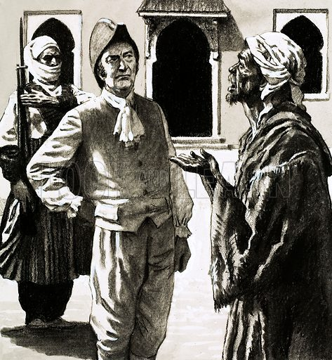 Great Quests: The Long Road to Timbuctoo. Mr Joseph Dupois was confronted by a bedraggled creature who claimed to be an American sailor, Robert Adams, shipwrecked and captured by Arabs, who had been to Timbuctoo. Original artwork from Look and Learn no. 593 (26 May 1973).