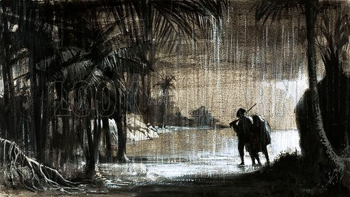 Scandal: Collapse of a Colony. William Paterson helped found a new trading colony on the Isthmus of Panama. The rains bred millions of mosqitoes and disease and death turned his dream to despair. Original artwork from Look and Learn no. 593 (26 May 1973).