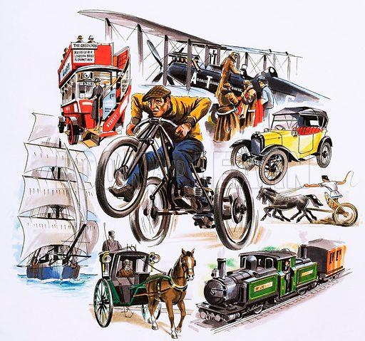 Montage of forms of transport. Original artwork.