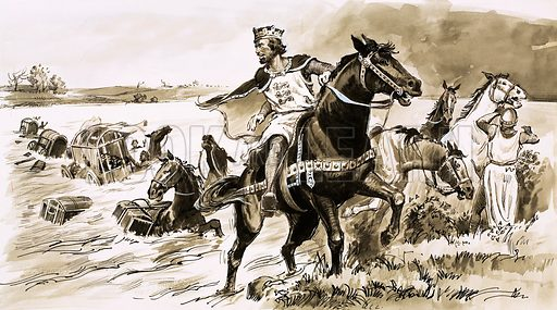 King John was Robbed by the Tide. In the thirteeth century, King John lost a large proportion of the royal treasure while endeavouring to cross the Wash. Original artwork from Look and Learn no. 126 (13 June 1964).