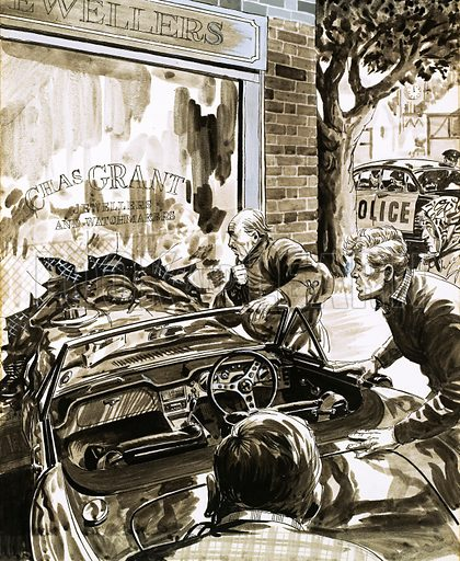Unidentified car crash into a jewellers' window. Original artwork.