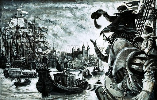 Unidentified sailing ship crew sailing into London with Tower of London in background. Original artwork.