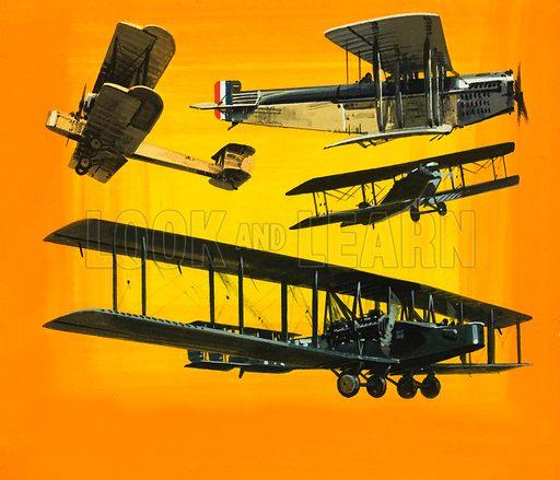 Unidentified bi-plane montage. Original artwork.