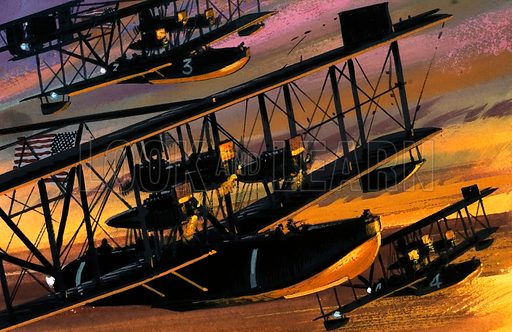 Unidentified seaplanes flying over a golden ocean. Original artwork.