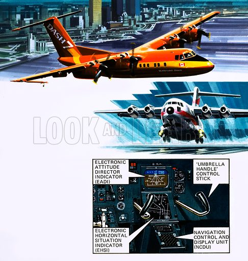 Journey into Space. STOL(short take-off and landing) aircraft will be the way forward for airliners of the future. (Top) the De Havilland Canada Dash 7; (Centre) the McDonnell-Douglas VC15; (Bottom) Airliner cockpit. Original artwork from Look and Learn Book 1978.