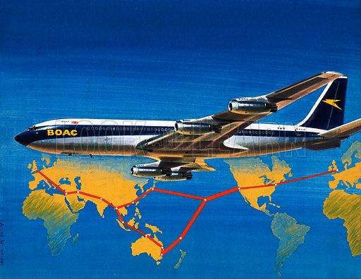 Into the Blue: Round the World with BOAC Passenger routes from London and back again. Original artwork from Look and Learn no. 288 (22 July 1967).