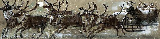 Santa Claus in his sleigh.