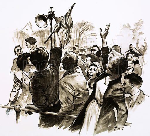 Britain Under the Swatika: The Germans Surrender. Crowds of Channel Islanders cheer at the news of Germany's defeat. Original artwork from Look and Learn no. 615 (27 October 1973).