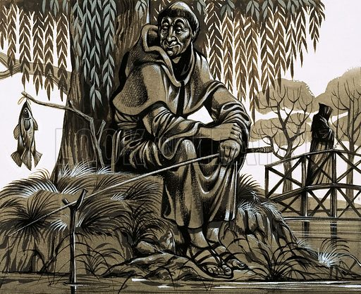 A happy-looking friar landing one for the pot. Old prints show that monks and friars in medieval times were keen fishermen. Original artwork from Look and Learn no. 477 (6 March 1971).