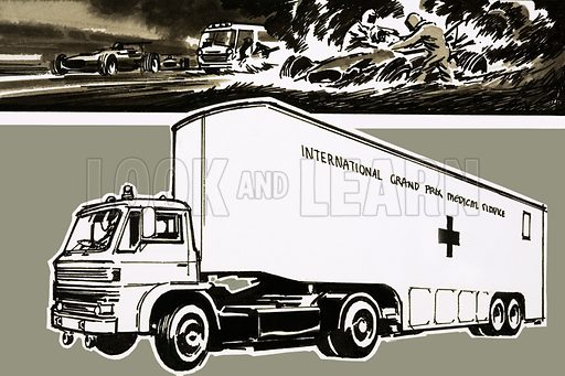 Grand Prix Medical Service truck. Original artwork.