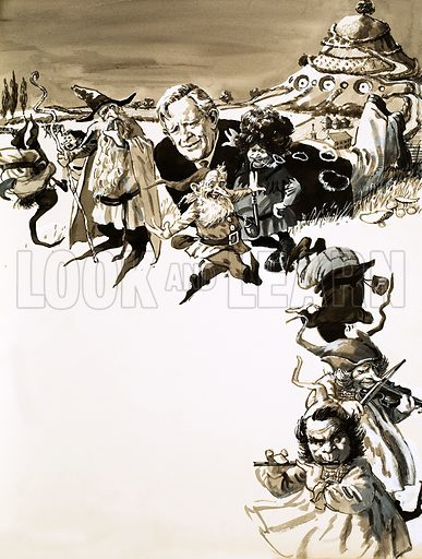THe World of Make-Believe: The Land of Hobbits. JRR Tolkien and characters from Lord of the Rings. Original artwork from Look and learn no. 626. (12 January 1974).