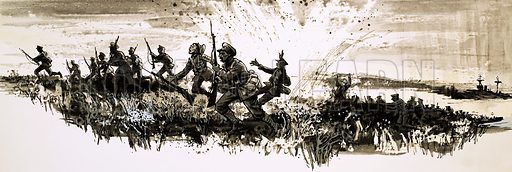 Civilians into Soldiers: Guns at Gallipoli. Soldiers escaping the shelling at Gallipoli faced another danger as the shells set fire to the dry scrub. Original artwork from Look and Learn no. 675 (21 December 1974).