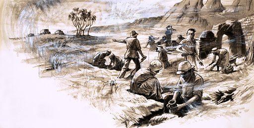 Abalessa excavations, picture, image, illustration