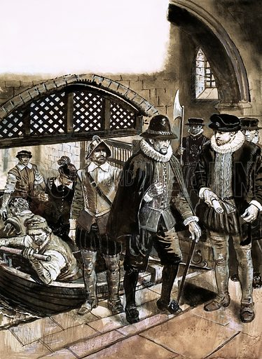 The Scene of the Crime: Treachery in the Tower. Of all the intrigues of the court of James the First, none were sinister than the murder of Sir Thomas Overbury at the Tower of London. Original artwork from Look and Learn no. 615 (27 October 1973).