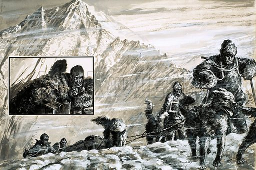 Forgotten Heroes: Hell Below Zero. The Antarctic expedition of Mills Joyce in 1915 to set up depots for Ernest Shackleton turned into an epic battle between man and the worst weather nature could produce; (inset) Spencer-Smith, stricken with scurvy, was left behind in a tent. Original artwork from Look and Learn no. 806 (25 June 1977).