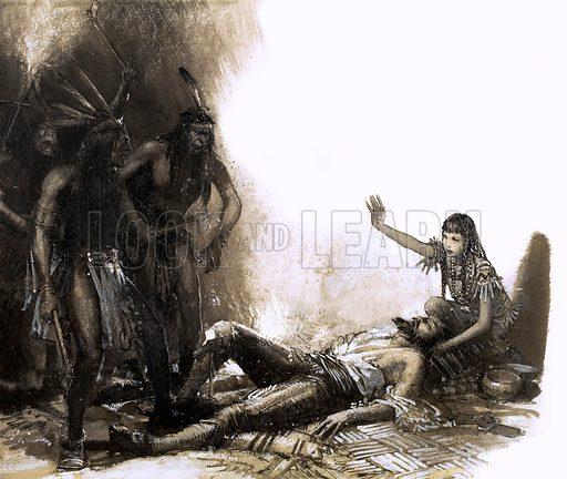 Pocahontas intervening to save the life of Captain Smith.