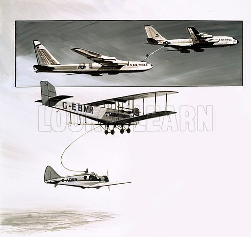 """Science Survey: Petrol Pumps With Wings. Early in-flight refuelling for a Handley Page W10 in 1934 and (top inset) the """"flying boom"""" used by American fuel tankers. Original artwork from Look and Learn no. 632 (23 February 1974)."""