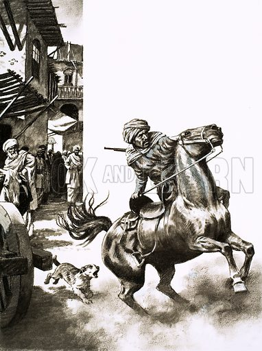 Outposts of the Empire: A Skirmish in the Foothills. A messenger leapt from his rearing horse to warn the governor of Zurabad that rebels were active in the foothills… and Alexander Stephen (Second Secretary of the British Legation in Persia) was heading with a small party straight towards them. Original artwork from Look and Learn no. 590 (5 May 1973).
