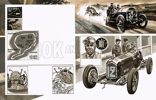 Grand Prix Racing: Battles in France. (top left) The Grand Prix course at the Rouen-Les Essarts; (bottom left) the cockpit of early racing cars; (top right) Racing at the course; (bottom right) an Alfa Romeo P3 as driven by Tazio Nuvolari (inset). Original artwork from Look and Learn no. 339 (13 July 1963).