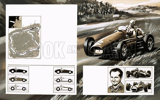 Grand Prix Racing: The Dutch Grand Prix. (top left) The Dutch grand prix course at Haarlem; (bottom left) colours of cars; (top right) Jack Brabham winning the championship in his Brabham Repco; Brabham (pictured) and his Cooper-Climax (top inset) and Jim Clark in a Lotus (bottom inset). Original artwork from Look and Learn no. 337 (29 June 1968).